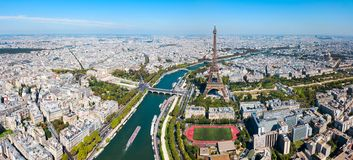 Paris aerial panoramic view, France. Paris city aerial panoramic view. Paris is the capital and most populous city of France royalty free stock images