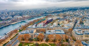 Paris aerial skyline with Seine river on a cloudy winter day, Fr. Ance Royalty Free Stock Images
