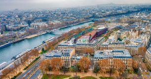 Paris aerial skyline with Seine river on a cloudy winter day, Fr. Ance Stock Photo