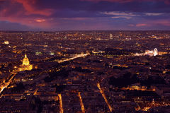 Paris aerial sunset at France Royalty Free Stock Photo