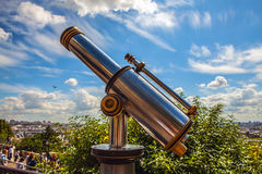 Paris aerial telescope view from Monmartre hill Stock Image