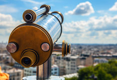 Paris aerial telescope view from Monmartre hill Royalty Free Stock Photography