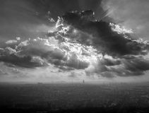 Paris aerial view on foggy day and Eiffel tower Royalty Free Stock Photos