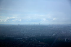 Paris aerial view on foggy day and Eiffel tower Stock Image