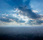 Paris aerial view on foggy day and Eiffel tower Stock Photography