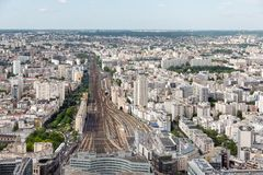 Paris with aerial view at Gare Montparnasse Royalty Free Stock Photo