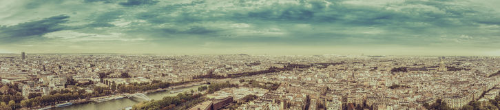 Paris aerial view panorama in fall scenery Stock Photo