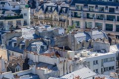 Paris, aerial view. Paris, view of typical roofs of the French capital, ancient and modern buildings stock photography