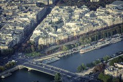 Paris aerial view with Seine River Stock Image