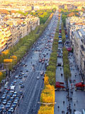 Paris aerial view from Triumphal Arch on Champs Elysees Stock Image