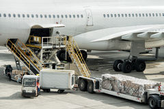 Paris airport landing and loading cargo and passenger Stock Image