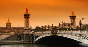 Paris alexandre 3 bridge Royalty Free Stock Images
