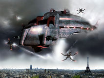 Paris alien invasion Royalty Free Stock Image