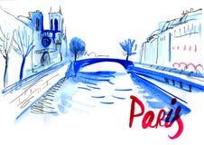 Paris-Ansichtpostkarte stock abbildung