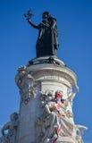 PARIS - APRIL 2014: Republique Monument on April 17, 2014, in Paris, France. Place de la Republique symbolizes the Royalty Free Stock Images