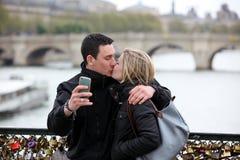 PARIS, APRIL 27: Romantic couple take a pic in Paris  on 27 Apri Stock Photos