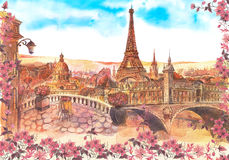 Paris-Aquarellmalerei stockbild