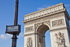 Paris - Arc de Triomphe. The Arc de Triomphe (Arc de Triomphe de l'Étoile) is one of the most famous monuments in Paris. It stands in the centre of the Place Royalty Free Stock Images