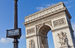 Paris - Arc de Triomphe. The Arc de Triomphe (Arc de Triomphe de l'Étoile) is one of the most famous monuments in Paris. It stands in the centre of the Place Royalty Free Stock Photos