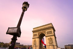 Paris, Arc de Triomphe. At sunset Royalty Free Stock Photo