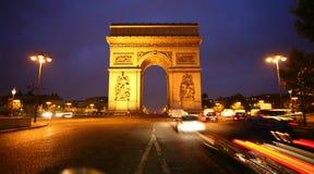 Paris arc de triomphe. At night Stock Photos