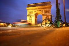 Paris arc de triomphe. At night Stock Photo