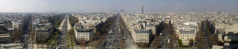 Paris from the Arc de Triomphe. A panoramic image of the streets of Paris leading away (L'etoile) taken from the top of the arc de triomphe. The center road is Stock Images