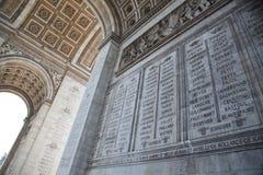 Paris, Arc de Triomphe. Paris, dettail of the Arc de Triomphe Stock Photos