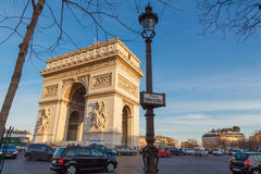 Paris. Arc de Triomphe. Paris, France - January 1, 2015: Arc de Triomphe at the Place Charles de Gaulle. One of the most visited attractions in Paris Stock Photo