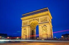 Paris. Arc de Triomphe in Paris at night Royalty Free Stock Photo