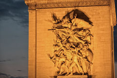 Paris Arc de Triomphe night Royalty Free Stock Image