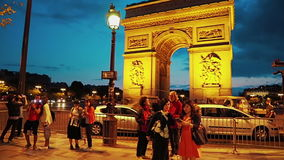 Paris Arc de Triomphe night stock footage