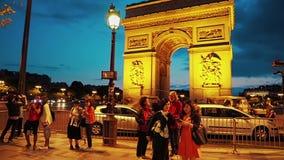 Paris Arc de Triomphe night stock footage