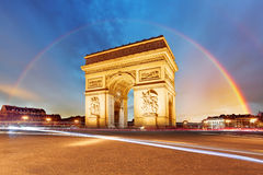Paris, Arc de triomphe. With rainbow Stock Images