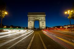 Paris Arc de Triomphe Triumphal Arch q. Paris Arc de Triomphe Triumphal Arch at Chaps Elysees at night, Paris, France. Architecture and landmarks of Paris Stock Photo