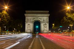 Paris Arc de Triomphe Triumphal Arch q. Paris Arc de Triomphe Triumphal Arch at Chaps Elysees at night, Paris, France. Architecture and landmarks of Paris Royalty Free Stock Image