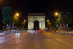 Paris Arc de Triomphe Triumphal Arch q. Paris Arc de Triomphe Triumphal Arch at Chaps Elysees at night, Paris, France. Architecture and landmarks of Paris Royalty Free Stock Photography