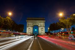 Paris Arc de Triomphe Triumphal Arch q. Paris Arc de Triomphe Triumphal Arch at Chaps Elysees at night, Paris, France. Architecture and landmarks of Paris Royalty Free Stock Images