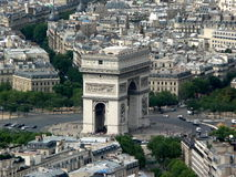 Paris - Arc de Triumph. Arc de Triumph - view from the Eiffel tower Royalty Free Stock Image
