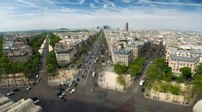 Paris from Arc de Triumph. Panorama of Paris with a view of La Defense Stock Image