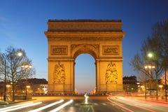 Paris, Arc de Triumph in the evening Royalty Free Stock Images