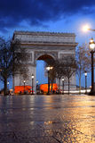 Paris, Arc de Triumph in evening , France. Paris, Arc de Triumph with street champs-elysees , France Stock Photo