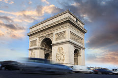 Paris, Arc de Triumph in evening , France Royalty Free Stock Photos