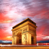 Paris, Arc de Triumph in evening , France. Paris, Arc de Triumph with street champs-elysees , France Stock Image
