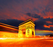Paris, Arc de Triumph in evening , France Stock Images