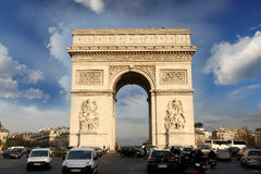 Paris, Arc de Triumph in France. Paris, Famous Arc de Triumph with traffic jam in France Royalty Free Stock Images