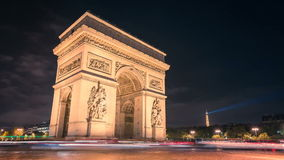 Paris Arc de Triumph night traffic Timelapse stock footage
