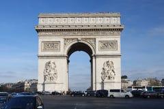 Paris, Arc de Triumph in spring time. With traffic jam Stock Photo