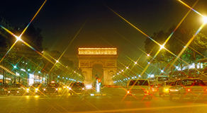 Paris. Arc de Triumphe at night in Paris, France Stock Image