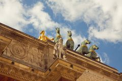 Paris - arc du carrousel. Top of the arch Carrousel near Tuileries garden and Louvre Stock Photography